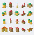 set of isolated public buildings in isometric vector image vector image