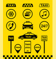 set taxi icons on yellow background vector image