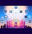 smart city wireless communication network vector image