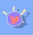 sticker tweet bird logotwitter icon buttonflat vector image vector image