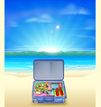 tropical beach with suitcase vector image