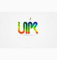 uk u k rainbow colored alphabet letter logo vector image vector image