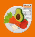 vegetables group with nutrition facts vector image vector image