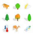 wildlife sanctuary icons set isometric style vector image vector image