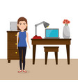 young woman in the office character scene vector image