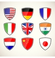 set of shields with flags vector image
