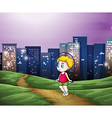 A young boy playing across the tall buildings in vector image vector image