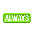 always green 3d realistic square isolated button