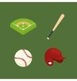 baseball ball field bat hat vector image vector image