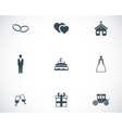 black wedding icons set vector image vector image