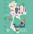 cartoon map thailand print design vector image vector image