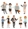 cartoon set of office managers and workers in vector image