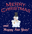 christmas background with snowman falling snow vector image
