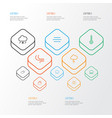 climate icons line style set with breeze cloudy vector image vector image