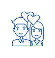 couple in lovehearts line icon concept couple in vector image