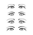 eyes with eyelash extension set vector image