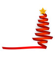 flat red ribbon christmas tree with star vector image vector image