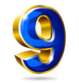 golden and blue number 9 isolated on white vector image vector image
