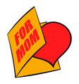 greeting card with heart for mom icon icon cartoon vector image