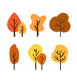 hand drawn brush autumn tree set vector image