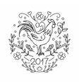 hand drawn rooster 2017 chinese new year the vector image