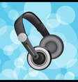 headphones on blue circular glowing background vector image