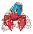 hermit crab in net on white background