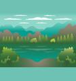 hills landscape in flat style design valley vector image vector image
