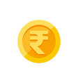 indian rupees symbol on gold coin flat style vector image vector image