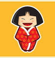 japanese girl kid wearing kimono with sakura vector image