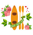 kayak with paddles color of a top view vector image