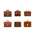 leather handbag icon set flat style vector image vector image