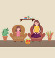 mom and girl with fruits in basket living room vector image