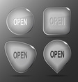 Open Glass buttons vector image