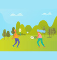 people playing badminton outdoor nature vector image vector image