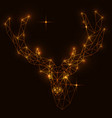 polygonal deer head shining lamps effect vector image