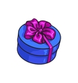 Red round gift box with bow and ribbon vector image