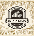 retro apples label on harvest landscape vector image vector image