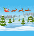 santa and reindeer on the snow vector image
