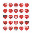 Set heart emoticons vector image vector image