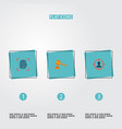 set of crime icons flat style symbols with hammer vector image vector image