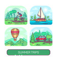 summer travelling set transport theme vector image vector image