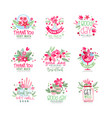thank you good day get well logo design set vector image vector image