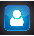 user icon - blue app button vector image vector image