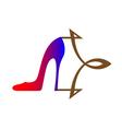 women shoe with stylized arrow vector image vector image