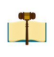 wooden gavel with a book icon vector image vector image