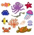 Set of marine life Ocean fauna underwater vector image