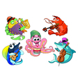 Funny group of musician sea animals vector image