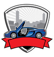 racing car badge with city background vector image