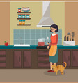 a woman is cooking dinner kitchen interier vector image vector image